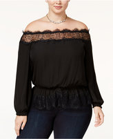 Jessica Simpson Trendy Plus Size Frannie Off-The-Shoulder Top