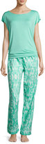 Iza Pearl Ikat-Print Pajama Set, Light Green
