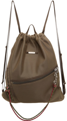 Master-piece Co Khaki Knit Drawstring Backpack