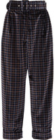 Isa Arfen Cropped Tartan Velvet Wide-leg Pants - Dark brown