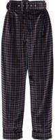 Isa Arfen Cropped Tartan Velvet Wide-leg Pants