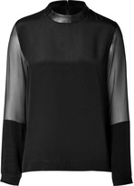Tibi Silk Top in Black with Leather