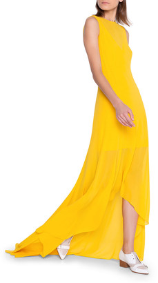 Akris Silk Georgette High-Low Gown