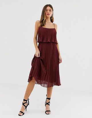 Asos Design DESIGN pleated crop top midi dress with scoop neck-Red