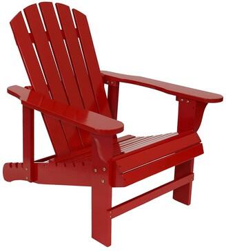Sunnydaze Adirondack Chair With Adjustable Backrest Wood Outdoor Seat