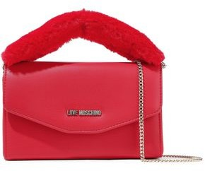 Love Moschino Faux Fur-trimmed Embellished Faux Leather Clutch