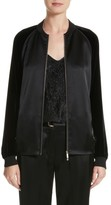 Lafayette 148 New York Women's Brea Reverie Satin Cloth Bomber Jacket