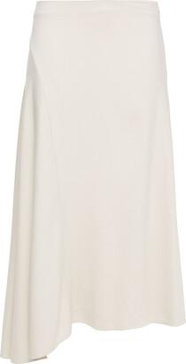 Vince Asymmetric Fluted Twill Midi Skirt