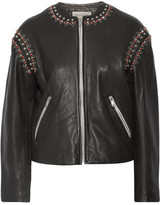 Etoile Isabel Marant Buddy Embellished Leather Jacket - Black
