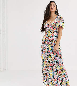 Asos DESIGN Petite maxi tea dress with strappy back in floral print-Multi