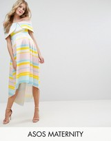 Asos Bright Stripe Deep Fold Dress