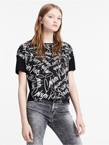 Calvin Klein Jeans Cropped Material Mix Scribble Logo Top