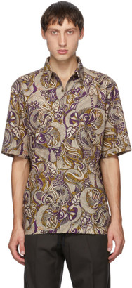 Dries Van Noten Purple and Gold Six Button Short Sleeve Shirt