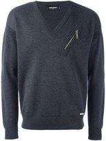 DSQUARED2 zip detail v-neck sweatshirt