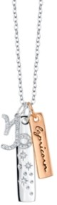 Unwritten Cubic Zirconia Constellation Capricorn Zodiac Pendant Necklace with Two-Tone Silver Plated Charms on Sterling Silver Chain, 18""