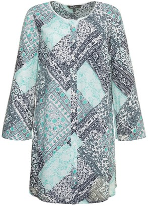 Ulla Popken Floral Print Straight Cut Round Neck Tunic with 3/4 Length Sleeves