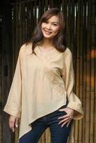 Cotton Blouse from Thailand, 'China Paths in Light Brown'