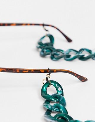 ASOS DESIGN sunglasses chain in chunky green