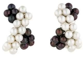 Verdura Black and White Pearl Earrings