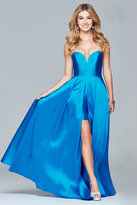 Faviana 7966 Long strapless ball gown with slit