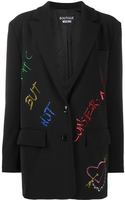 Boutique Moschino Sequin Slogan Detail Blazer