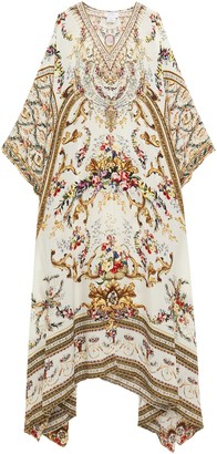 Camilla Cutout Crystal-embellished Silk Crepe De Chine Kimono