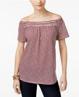 Style&Co. Style & Co Striped Off-The-Shoulder Top, Only at Macy's