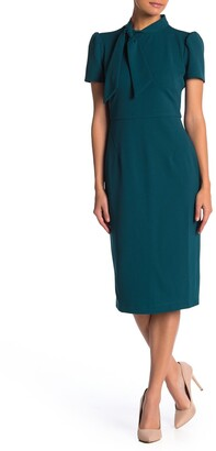 Maggy London Tie Neck Puff Sleeve Scuba Crepe Dress