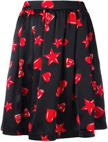 Moschino heart print skater skirt - women - Silk/Acetate/Viscose - 38