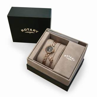 Rotary Diamond Dial Rose Gold Stainless Steel Ladies Watch and Rose Gold Plated Sterling Silver Bracelet Gift Set
