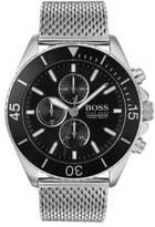 Boss Stainless-steel chronograph watch with rotating bezel and mesh bracelet