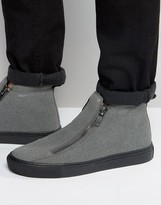 Asos Zip Boots In Grey Faux Suede With Chunky Sole
