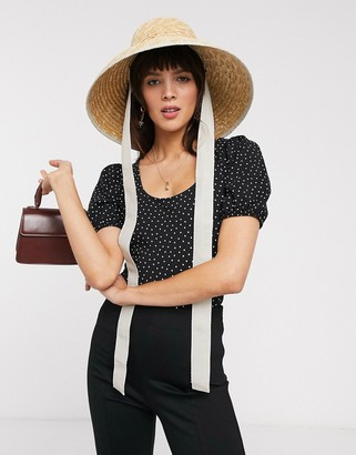 And other stories & dotty print puff sleeve body in black
