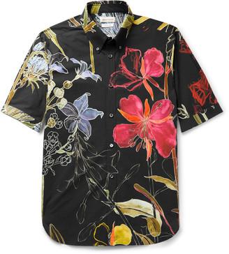 Alexander McQueen Button-Down Collar Floral-Print Cotton-Poplin Shirt