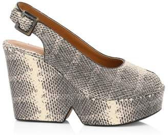 Clergerie Dylanco3 Peep-Toe Slingback Snakeskin-Embossed Leather Wedge Heels