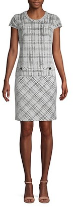 Karl Lagerfeld Paris Short Sleeve Plaid Knit Dress