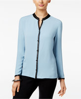 Alfani Petite Faux-Leather Trim Blouse, Only at Macy's