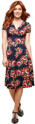 Joe Browns Wrapover Mid-Length Dress in Floral Print