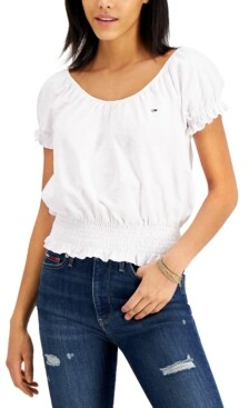 Tommy Jeans Smocked Peasant Top