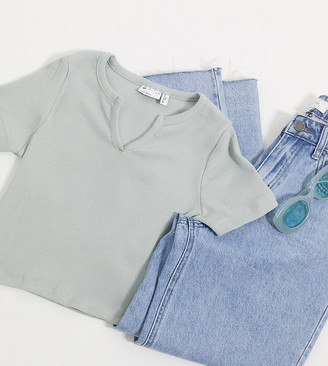 Asos DESIGN Petite slim fit t-shirt with notch neck in rib in sage