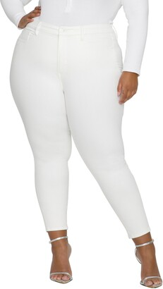 Good American Good Waist Extreme-V Ankle Skinny Jeans