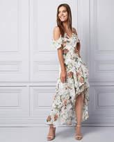 Le Château Floral Print Chiffon Ruffle Gown