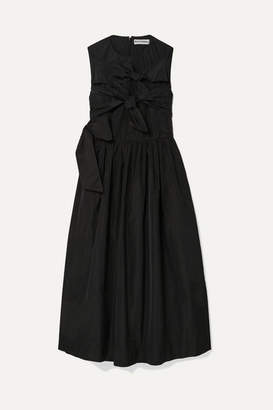 Molly Goddard Iona Knotted Taffeta Midi Dress - Black