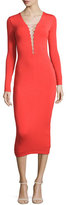 Alexander Wang Long-Sleeve Laced Ponte Midi Dress, Scarlet