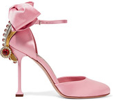 Miu Miu Embellished Satin Pumps - Baby pink