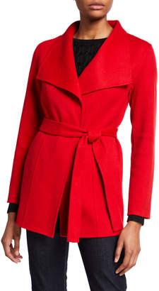 Neiman Marcus Double Face Cashmere Long-Sleeve Wrap Coat