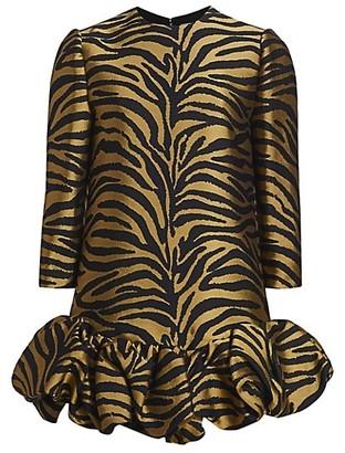 KHAITE Lorie Ruffle-Hem Mini Dress