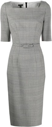 Escada Belted Houndstooth Dress