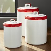 Crate & Barrel Baker Red and White Kitchen Canisters