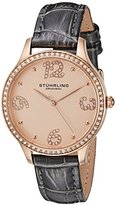 Stuhrling Original Women's Quartz Watch with Rose Gold Dial Analogue Display and Grey Leather Strap 560.049999999999